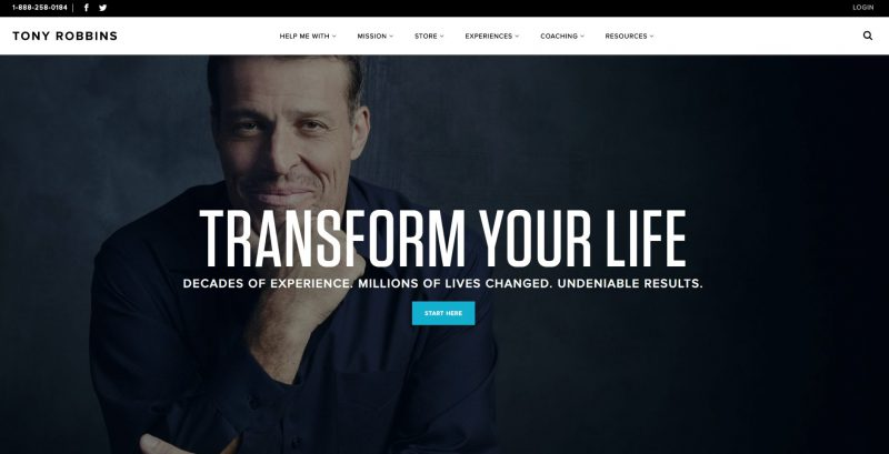 Ejemplo web de marca personal Tony Robbins